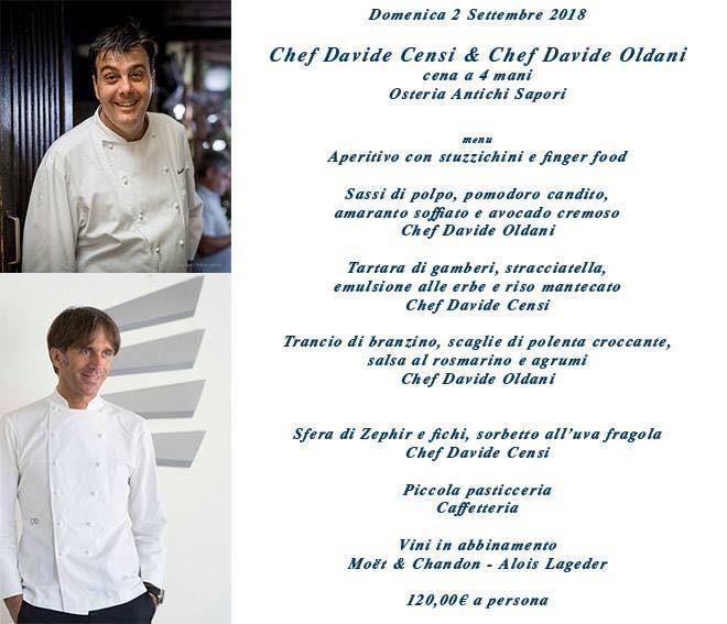 Chef Davide Censi e D'O - Davide Oldani  alla Trattoria Antichi Sapori per una  cena a 4 mani