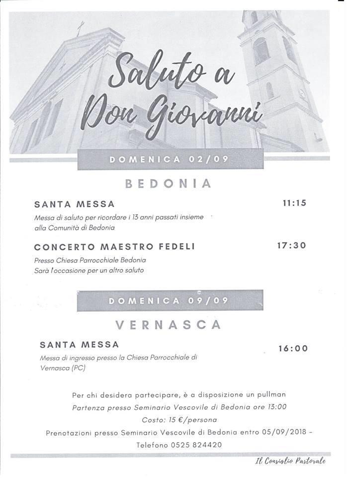A Bedonia saluto a Don Giovanni