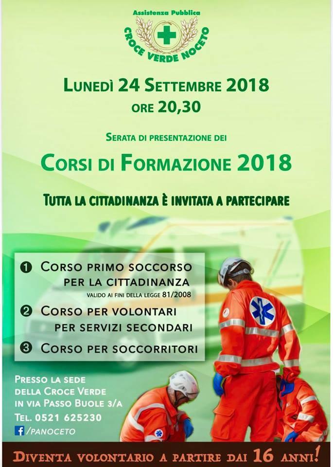 PA Croce Verde Noceto, corsi di formazione