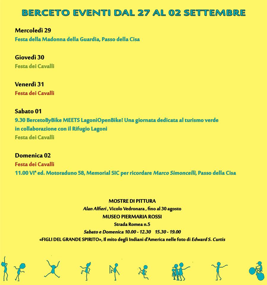 Eventi a Berceto dal 29 agosto al 2 settembre