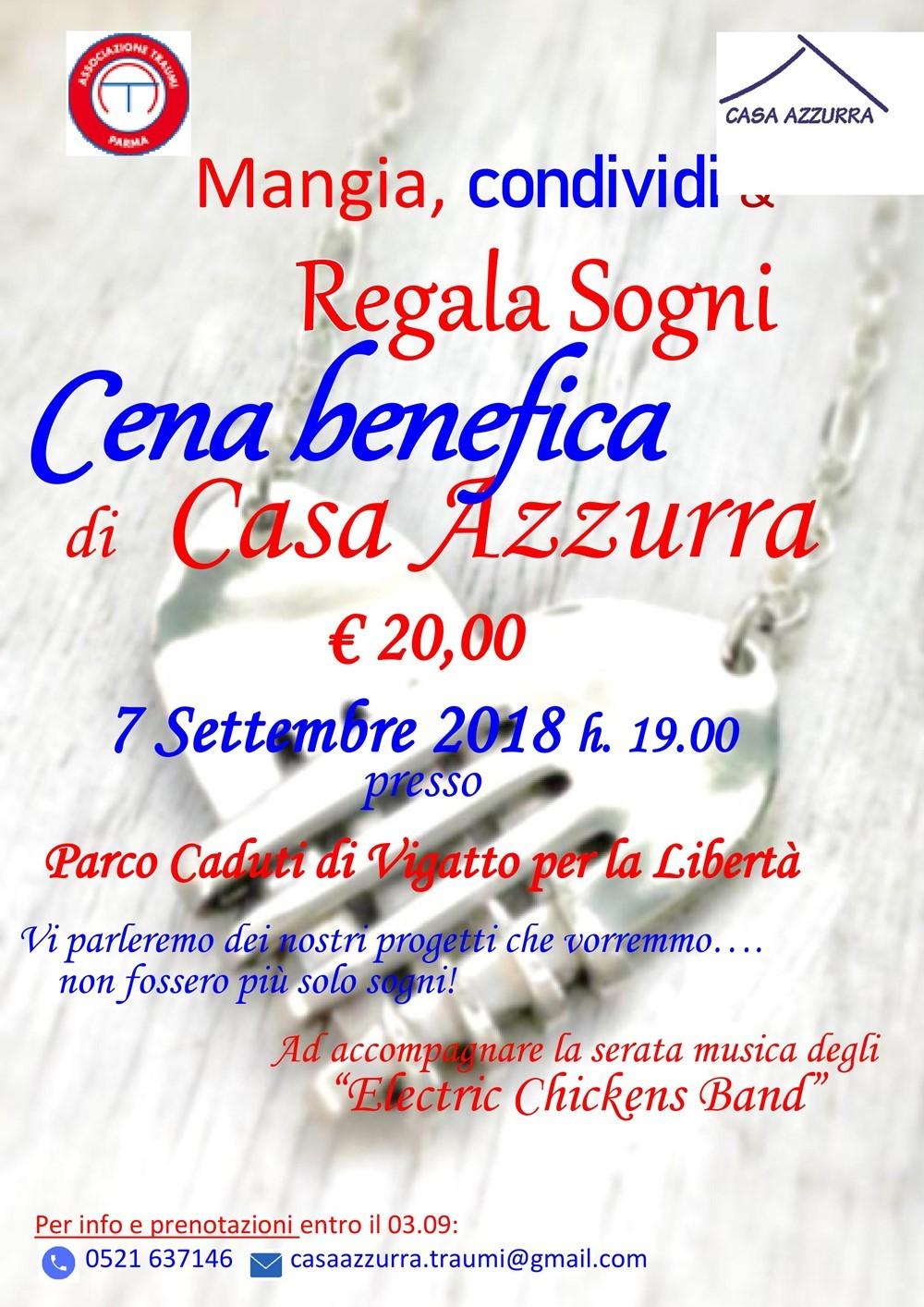 Associazione Traumi  Il 7 settembre la cena benefica a favore di Casa Azzurra