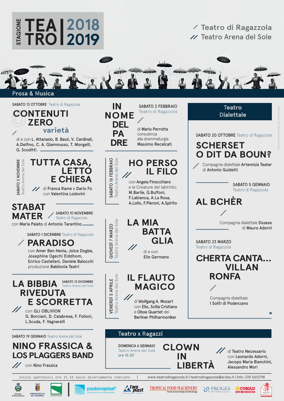 STAGIONE TEATRALE 2018/19 TEATRO DI RAGAZZOLA - ARENA DEL SOLE ROCCABIANCA