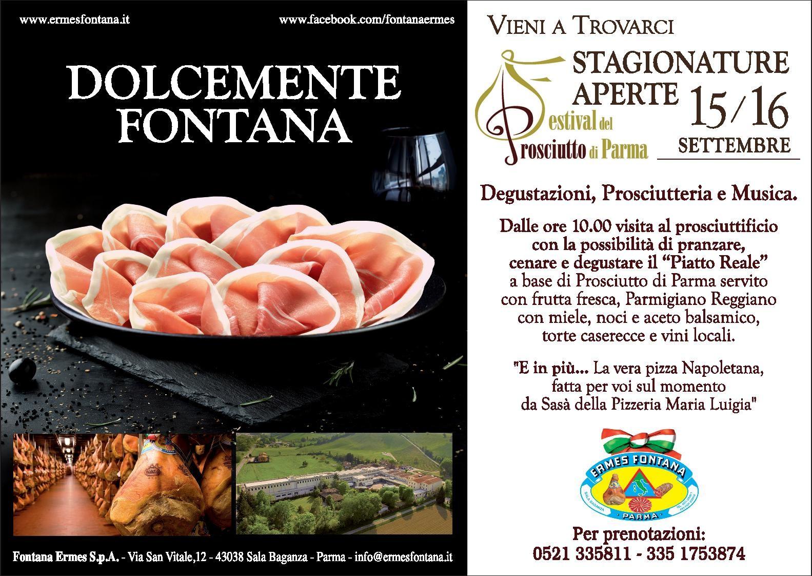"""Al prosciuttificio Fontana Ermes S. p. A. """"Stagionature aperte"""" in occasione del Festival del prosciutto"""