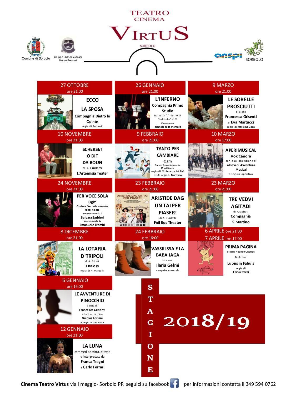 Cinema Teatro Virtus: stagione 2018-2019