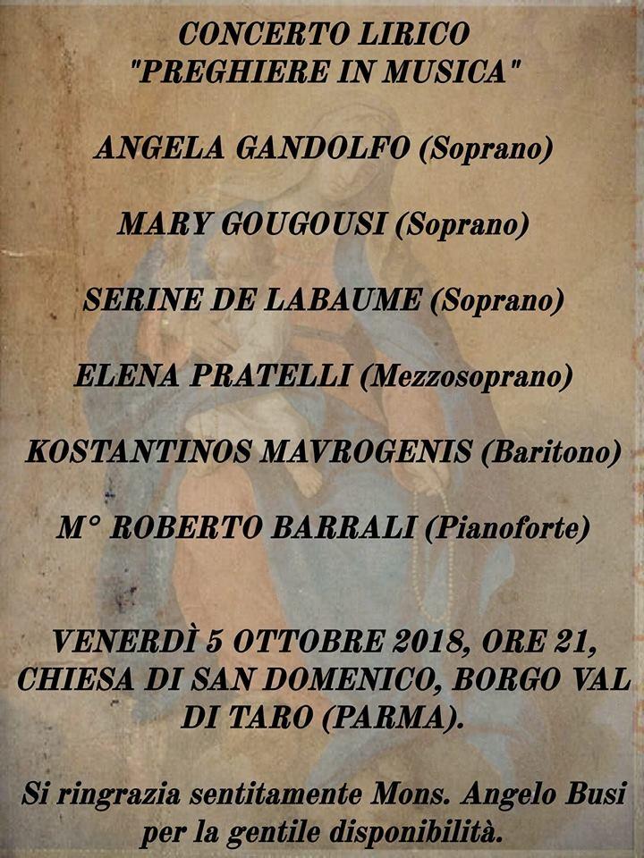 """Concerto lirico """"Preghiera in musica"""""""