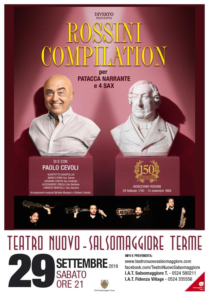 """PAOLO CEVOLI  """"ROSSINI COMPILATION per patacca narrante e 4 sax"""" al Teatro Nuovo di Salsomaggiore"""