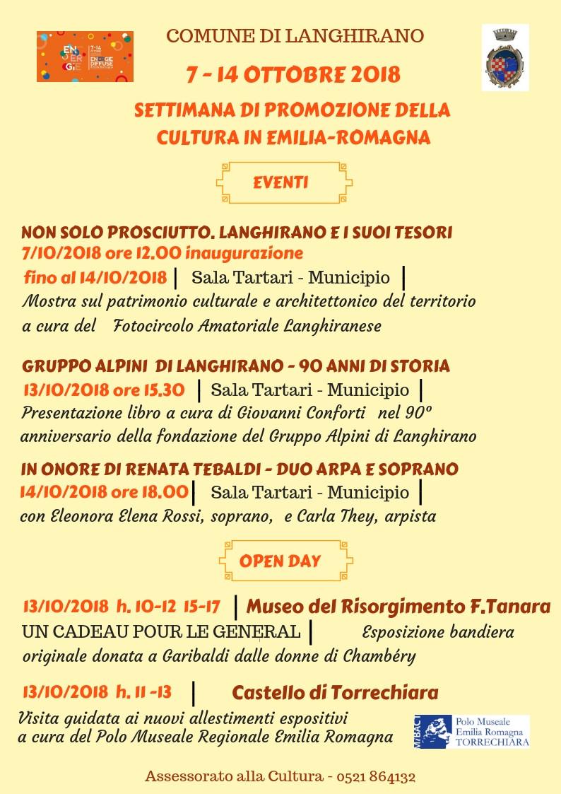7 - 14 OTTOBRE 2018  SETTIMANA DI PROMOZIONE DELLA  CULTURA IN EMILIA-ROMAGNA, eventi a Langhirano