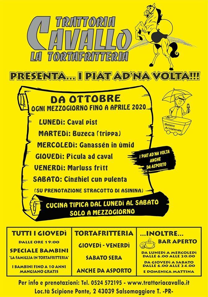 """La Trattoria Cavallo presenta """"I PIAT AD NA'  VOLTA"""""""