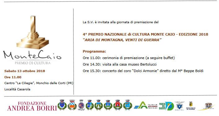 Premio Nazionale di Cultura Monte Caio 2018 a Casarola nel Parco dei Cento Laghi