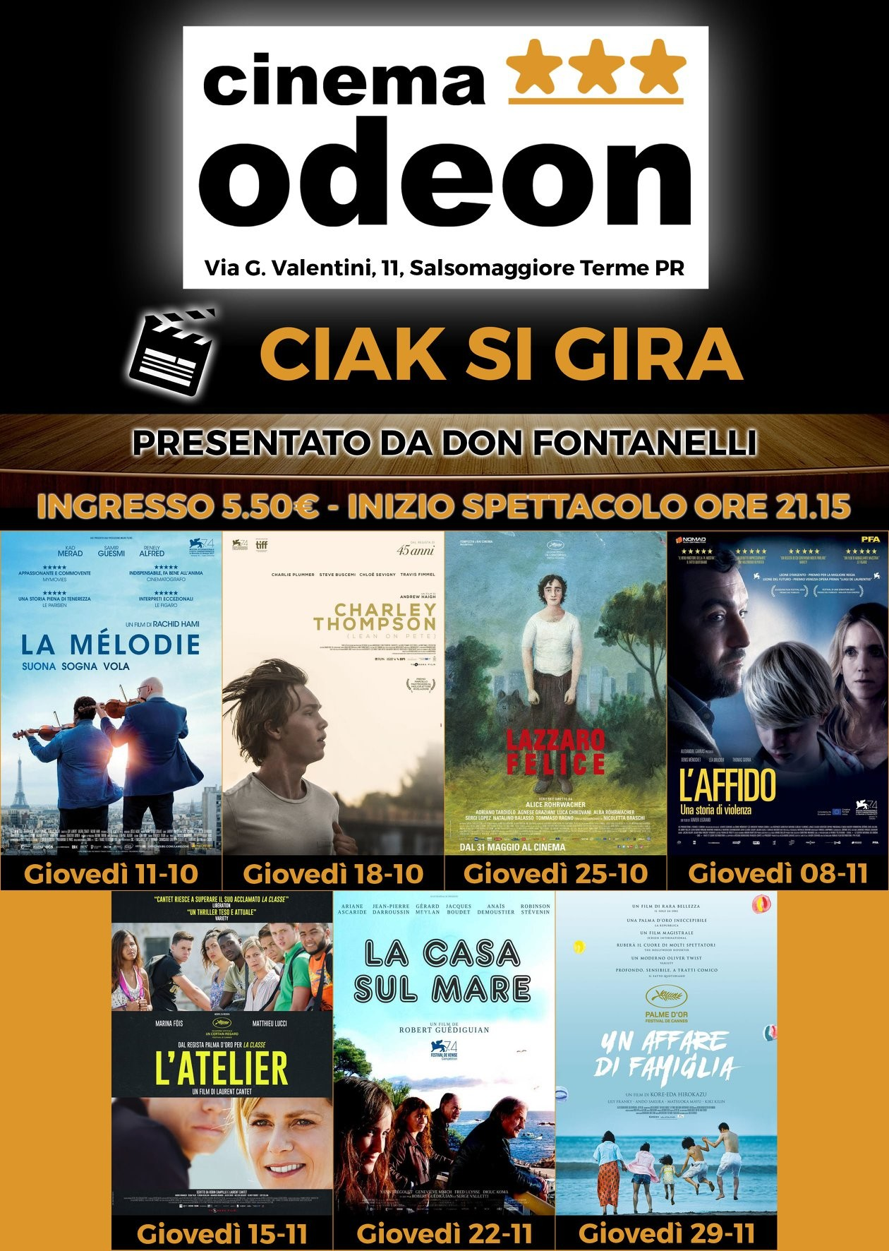 """Ciak si gira"" al cinema Odeon"