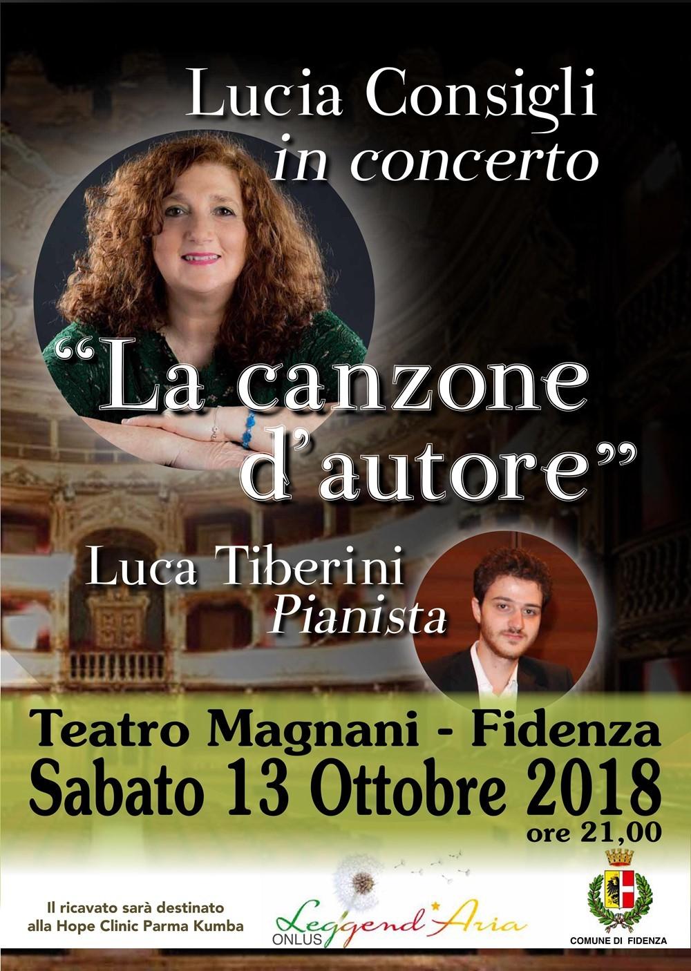 """""""La canzone d'autore"""" con  la cantante Lucia Consigli. Concerto benefico"""