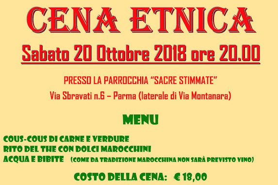 Cena marocchina  Il 20 ottobre organizzata dall'associazione Daquialà