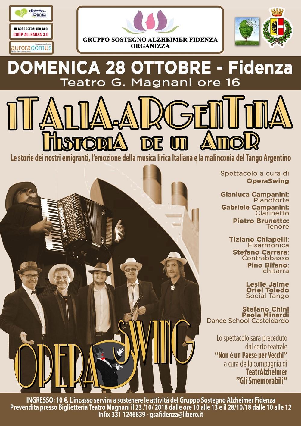 Italia-Argentina  Il 28 ottobre lo spettacolo proposto dal Gruppo Sostegno Alzheimer Fidenza