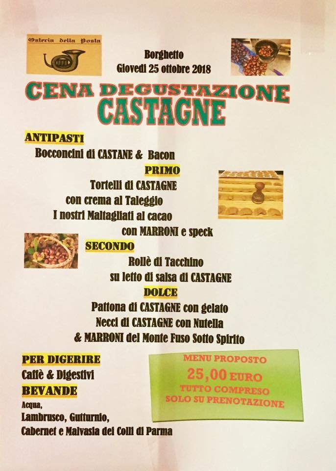 Cena DEGUSTAZIONE  CASTAGNE  all' Osteria della Posta a Borghetto