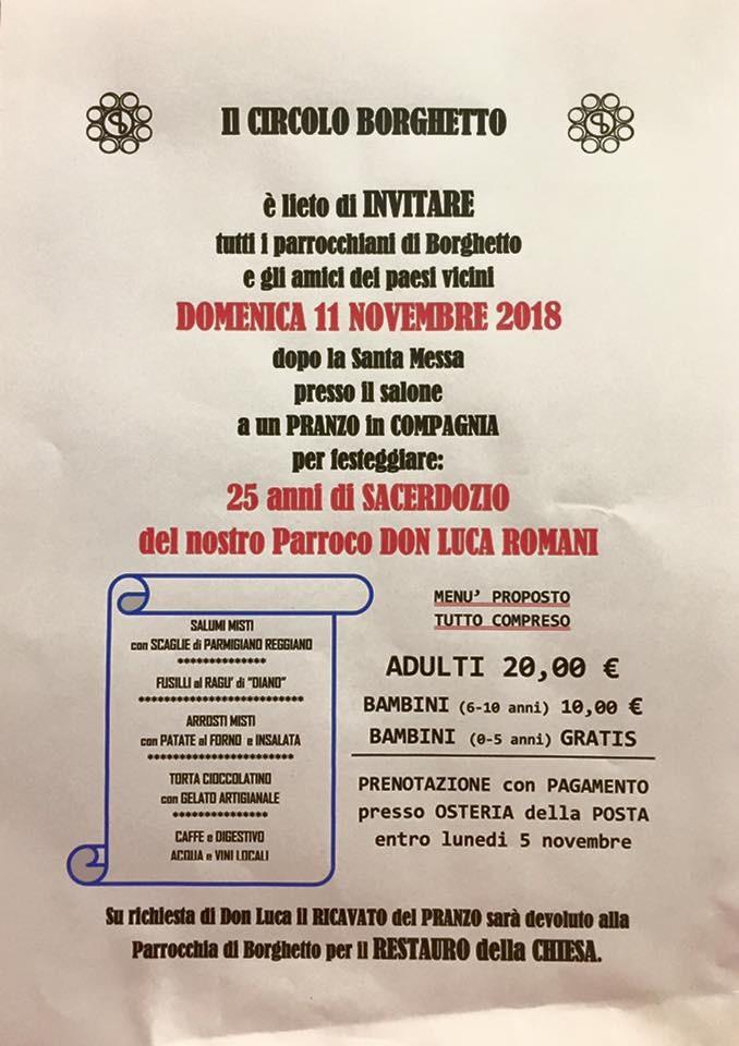 25 anni di SACERDOZIO del Parroco Don LUCA  a Borghetto e pranzo benefico