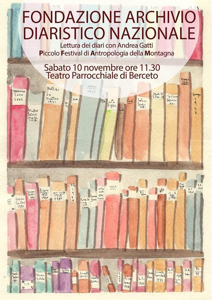 Andrea Gatti leggerà alcuni brani tratti dai diari della FONDAZIONE ARCHIVIO DIARISTICO NAZIONALE