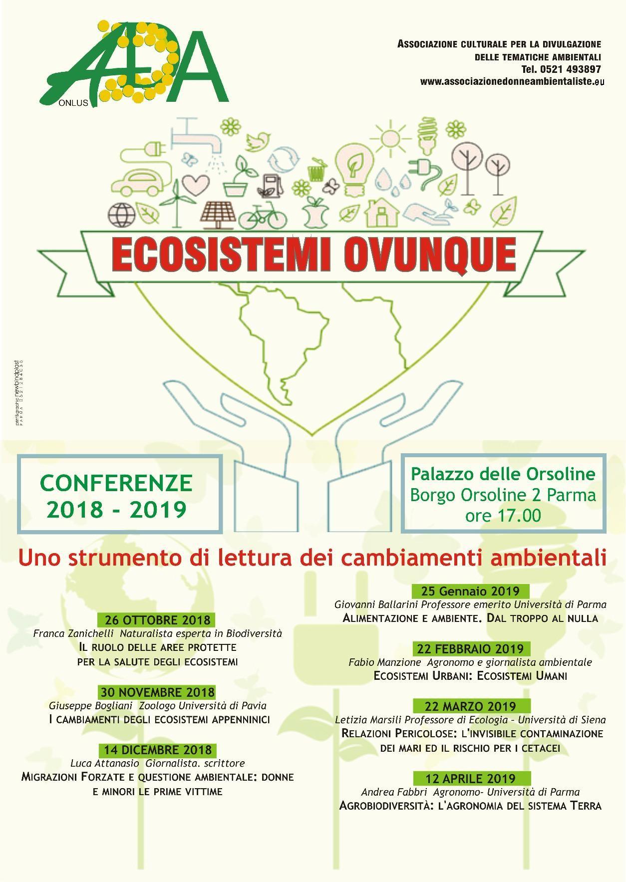"""""""Ecosistemi ovunque - Uno strumento di lettura dei cambiamenti ambientali"""" conferenze proposte da ADA onlus"""