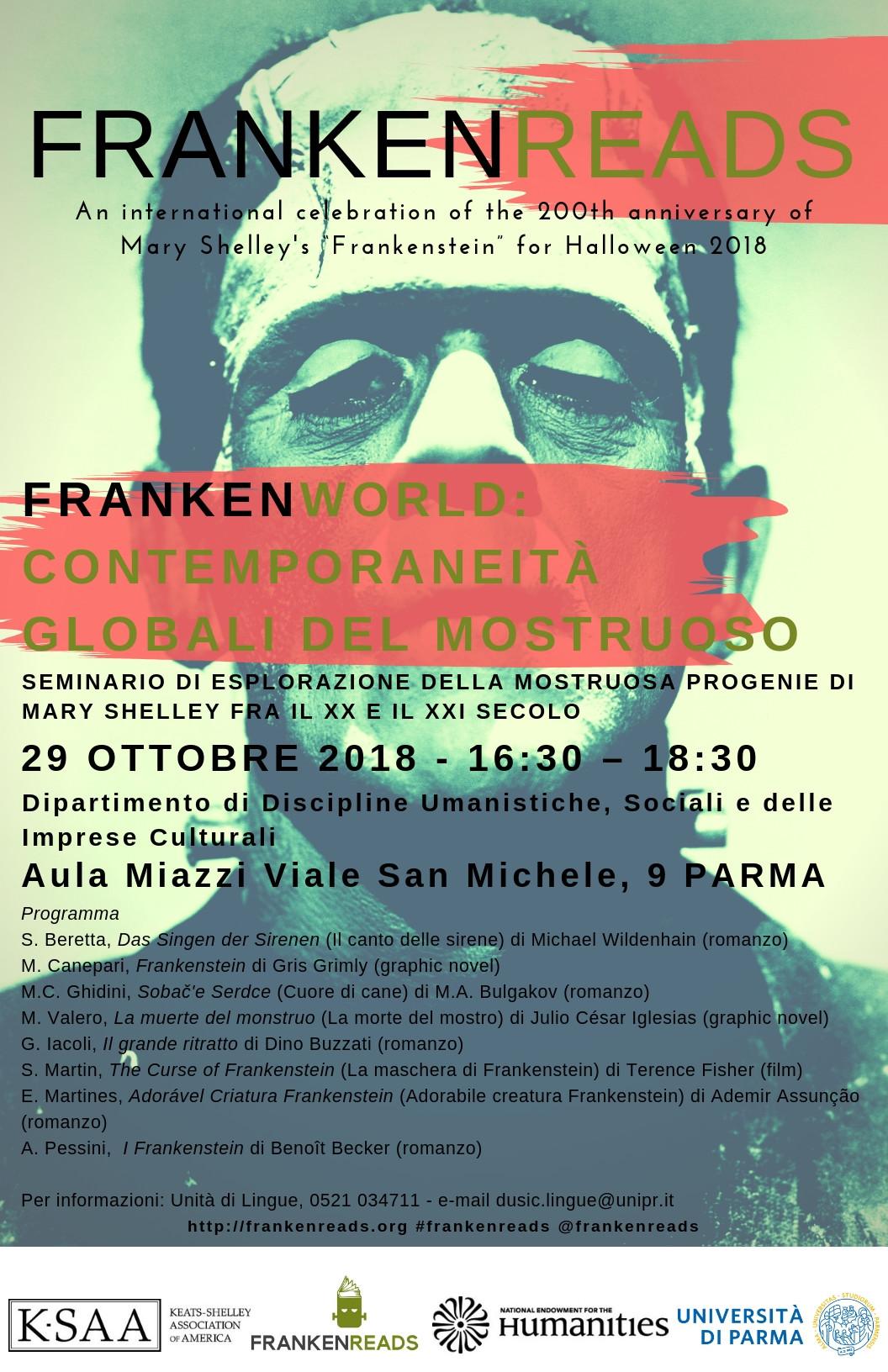 Iniziativa su Frankenstein dell'Università di Parma, programma del 29 ottobre