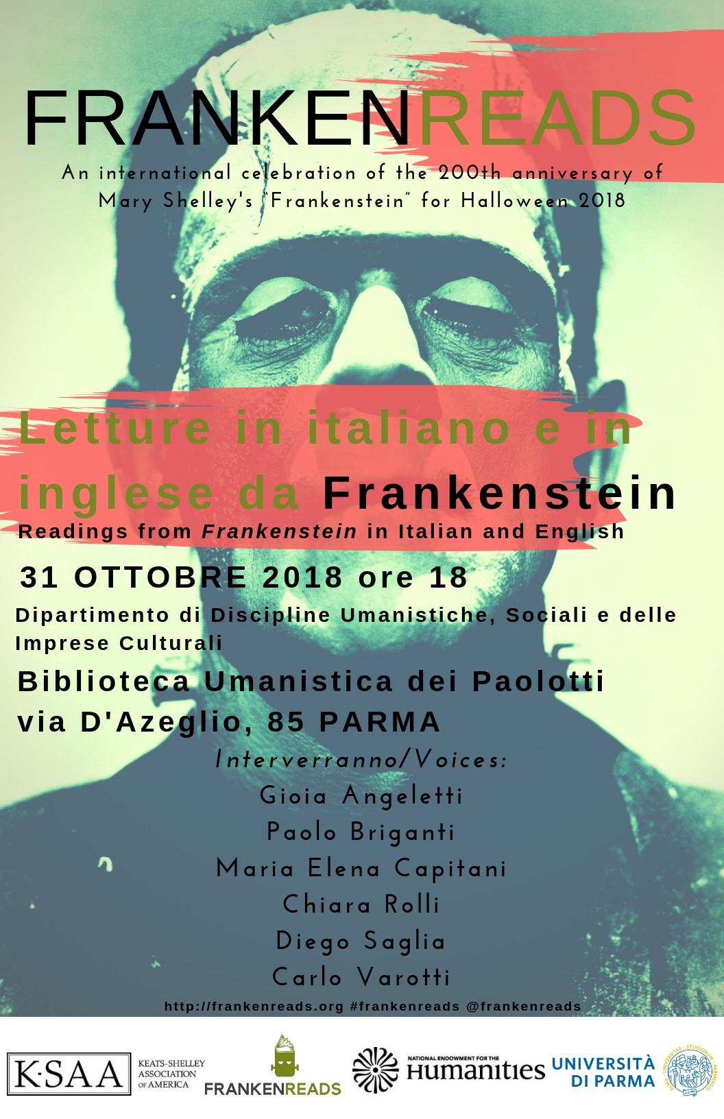 Iniziativa su Frankenstein dell'Università di Parma, programma del 31 ottobre
