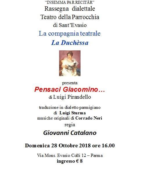 """Stagione dialettale al Teatro S. Evasio: """"Pensaci Giacomino"""" con la compagnia """"La Duchessa"""""""