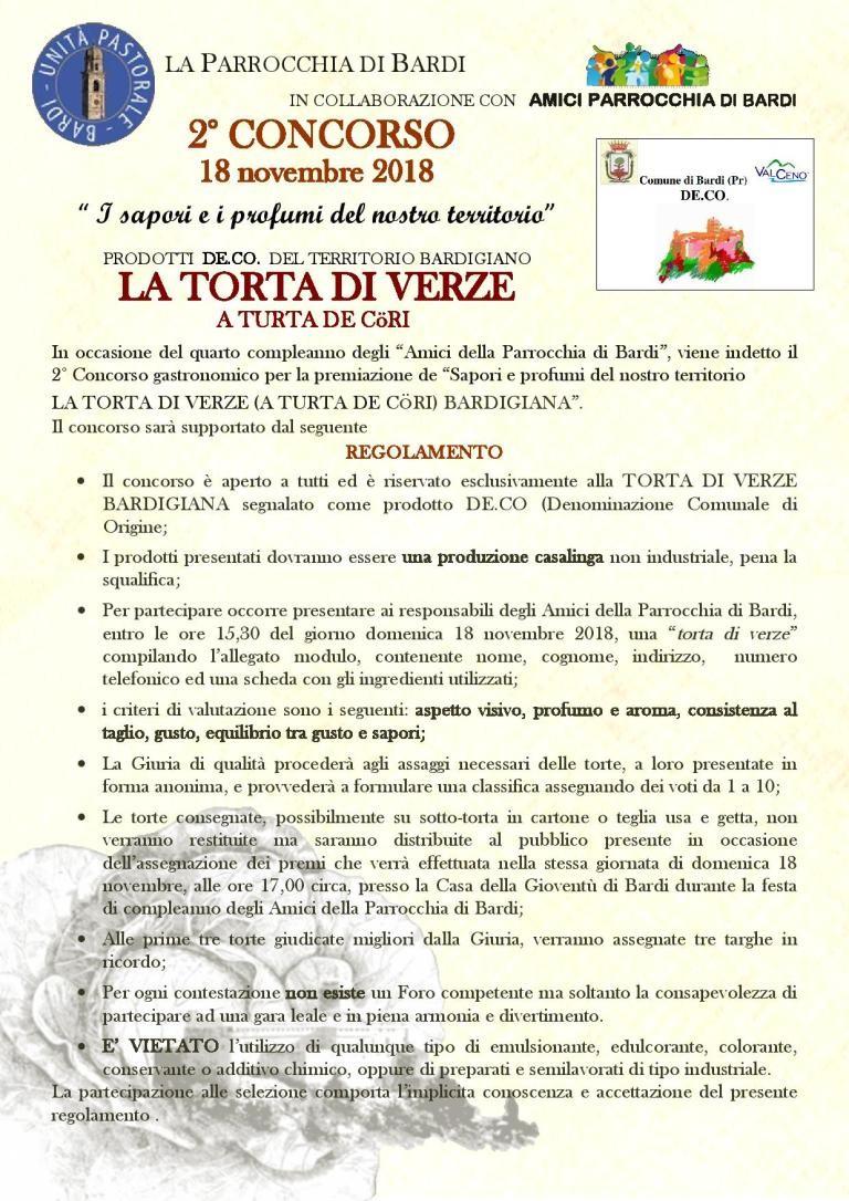 2° CONCORSO LA TORTA DI VERZE BARDIGIANA. A TURTA DE CORI