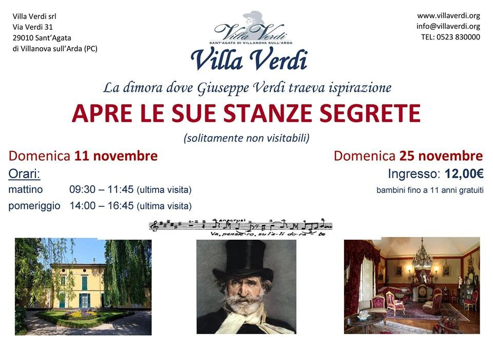A Villa Giuseppe Verdi apertura delle stanze private, solitamente non visitabili.
