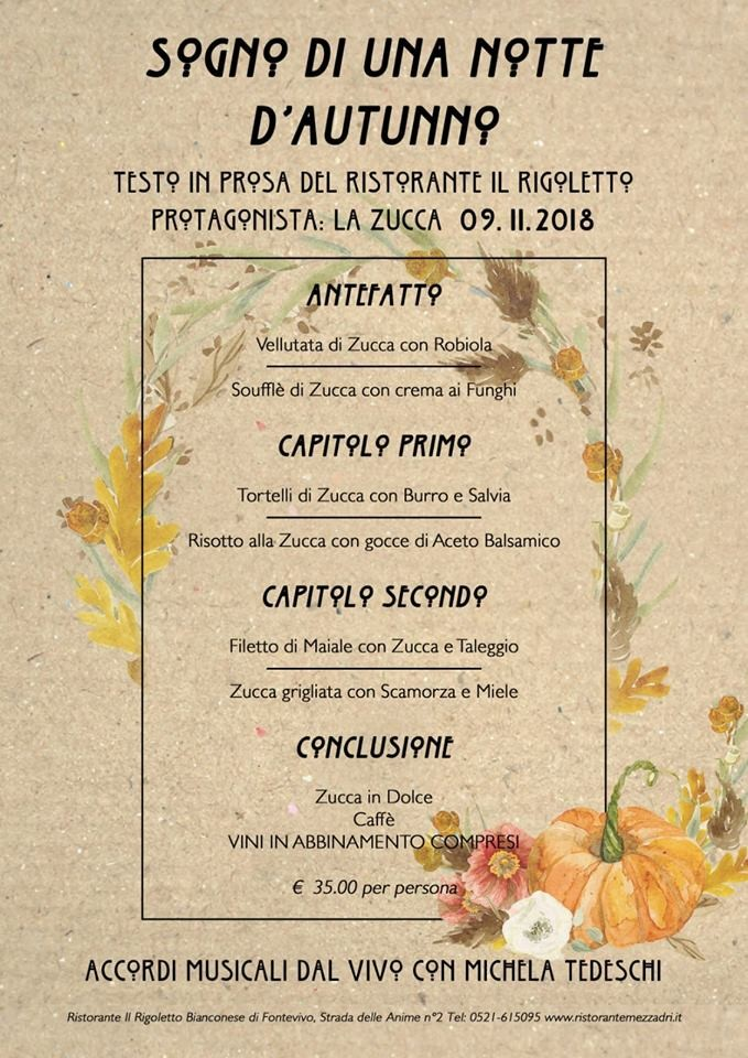 Serata della zucca e musica con Michela Tedeschi al ristorante Rigoletto a Fontevivo