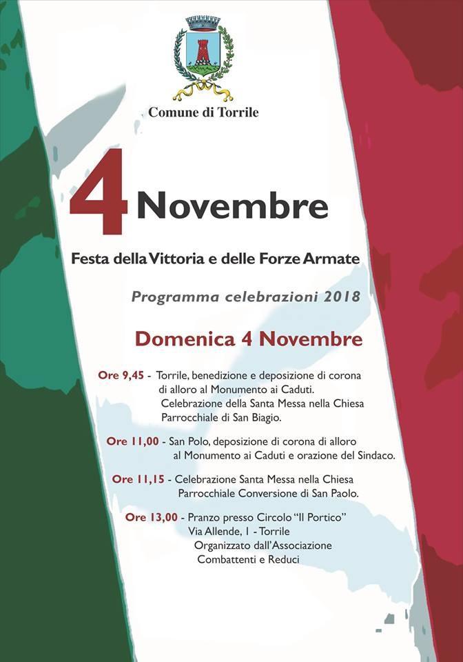 4 Novembre: Festa della Vittoria e delle Forze Armate a Torrile