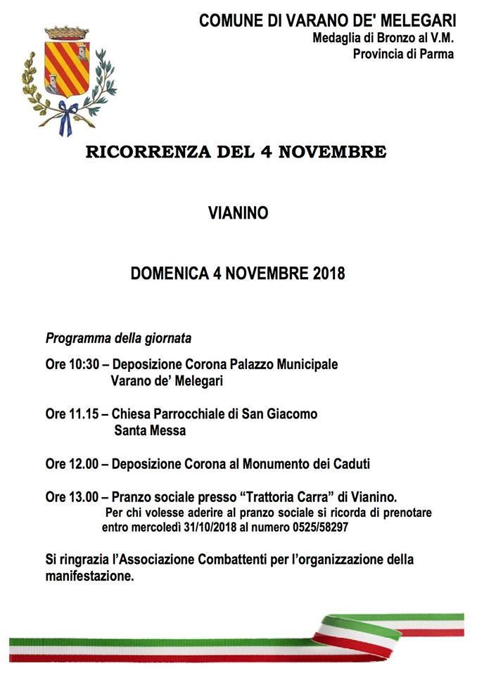 4 Novembre: Festa della Vittoria e delle Forze Armate a Vianino