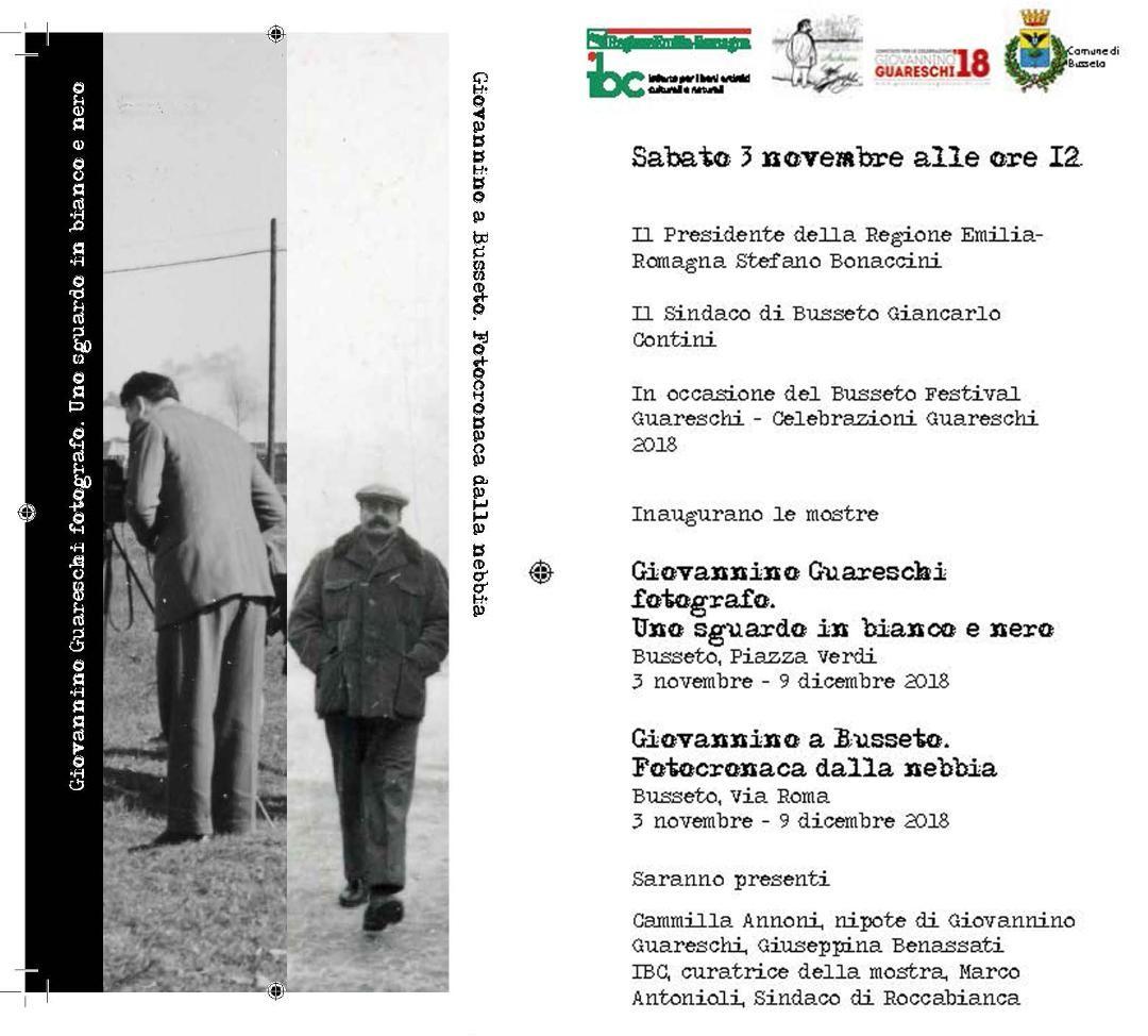 """Mostre  """"Giovannino Guareschi fotografo. Uno sguardo in bianco e nero"""" e """"Giovannino a Busseto. Fotocronaca dalla nebbia""""."""