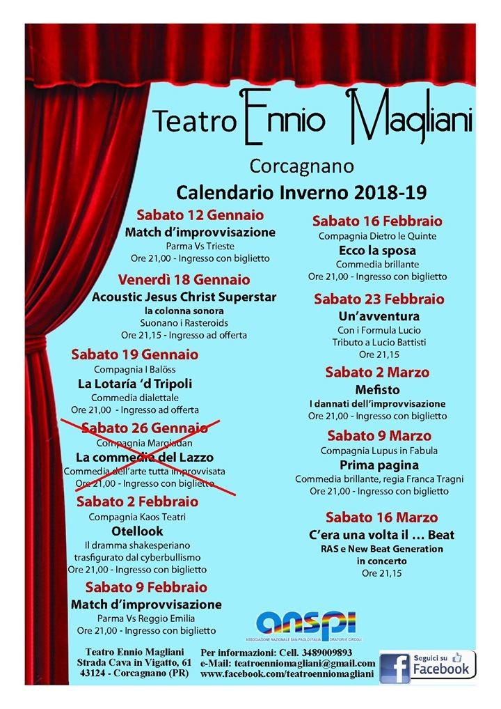 Programmazione eventi  Teatro Ennio Magliani 2018/19