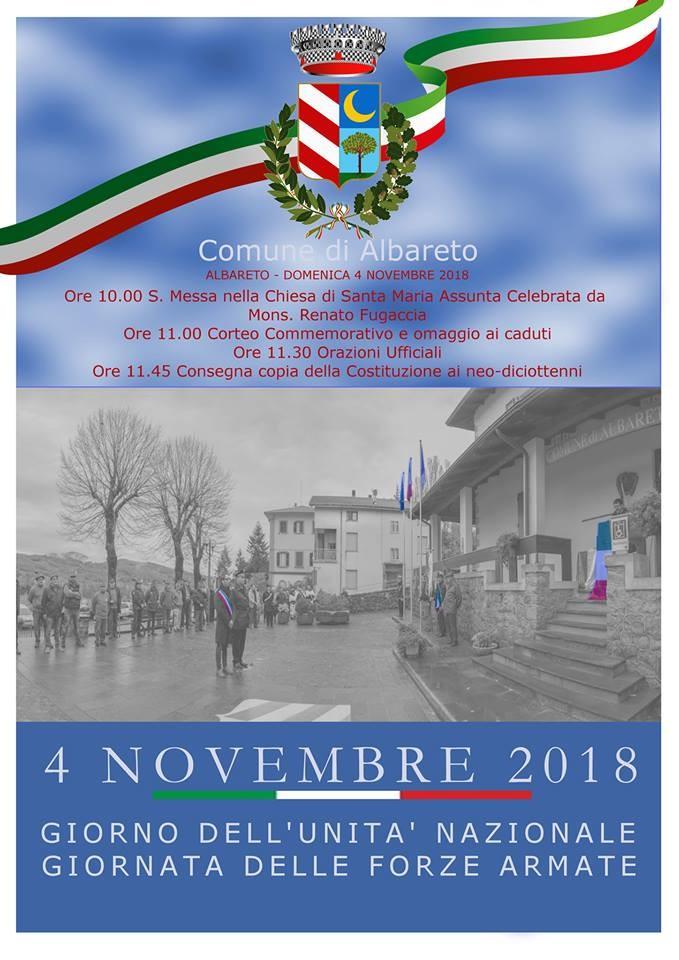 4 novembre GIORNO DELL'UNITÀ NAZIONALE E FESTA DELLE FORZE  ARMATE  a Albareto
