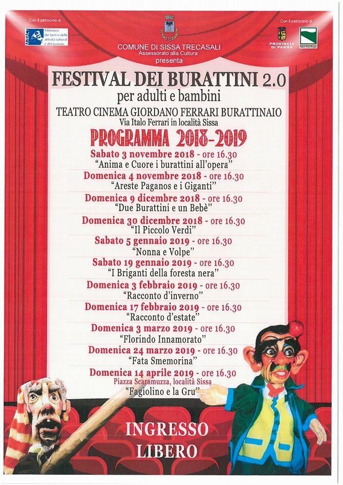 Festival di Burattini al teatro Giordano Ferrari di Sissa
