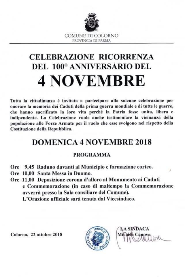 Celebrazioni del 100^ Anniversario del 4 Novembre a Colorno.