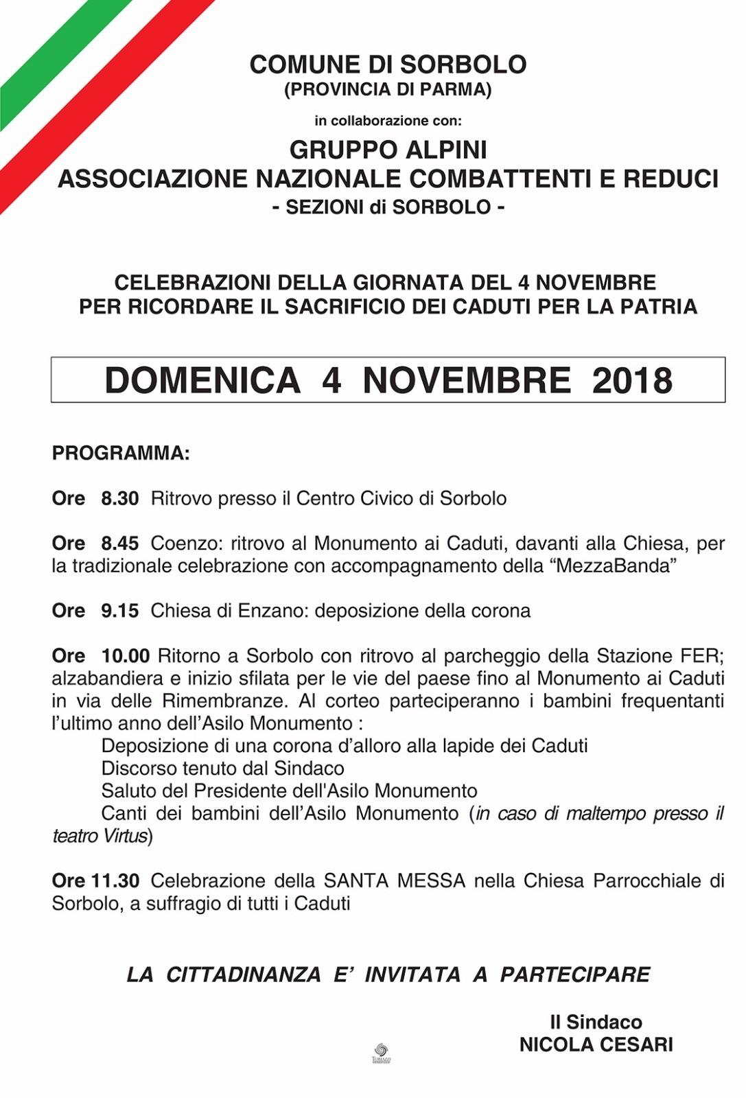 4 novembre GIORNO DELL'UNITÀ NAZIONALE E FESTA DELLE FORZE  ARMATE  a Sorbolo