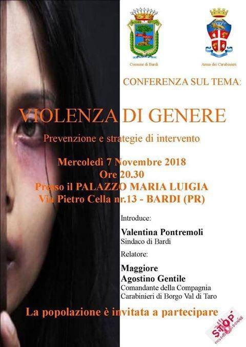 """COMUNE DI BARDI ED ARMA DEI CARABINIERI INVITANO LA POPOLAZIONE ALLA CONFERENZA : """"VIOLENZA DI GENERE"""""""