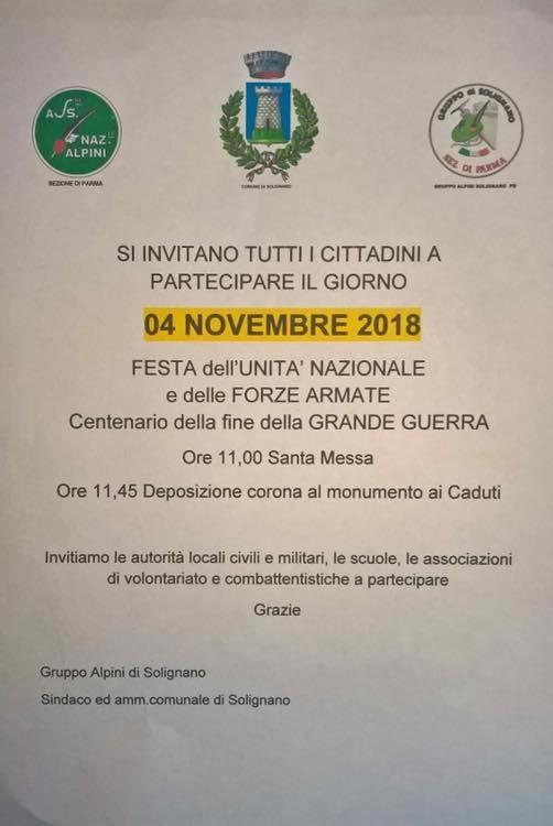 4 novembre GIORNO DELL'UNITÀ NAZIONALE E FESTA DELLE FORZE  ARMATE  a Solignano