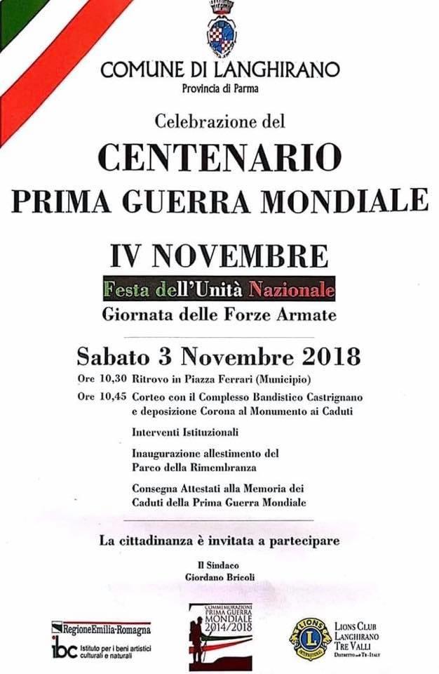 Celebrazione del CENTENARIO DELLA PRIMA GUERRA MONDIALE a Langhirano