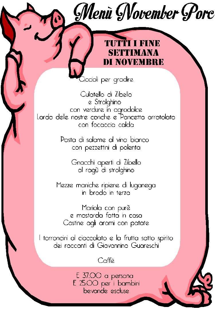 """Menu' November Porc dedicato a Giovannino Guareschi a """"Il Leon d'Oro"""""""