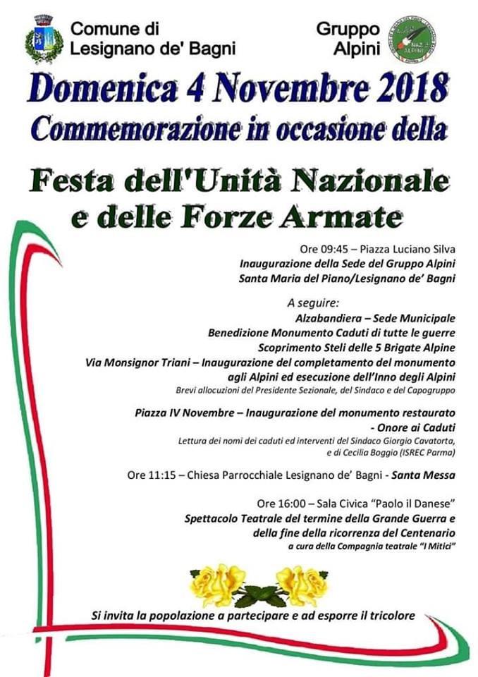 4 novembre GIORNO DELL'UNITÀ NAZIONALE E FESTA DELLE FORZE  ARMATE  a Fidenza