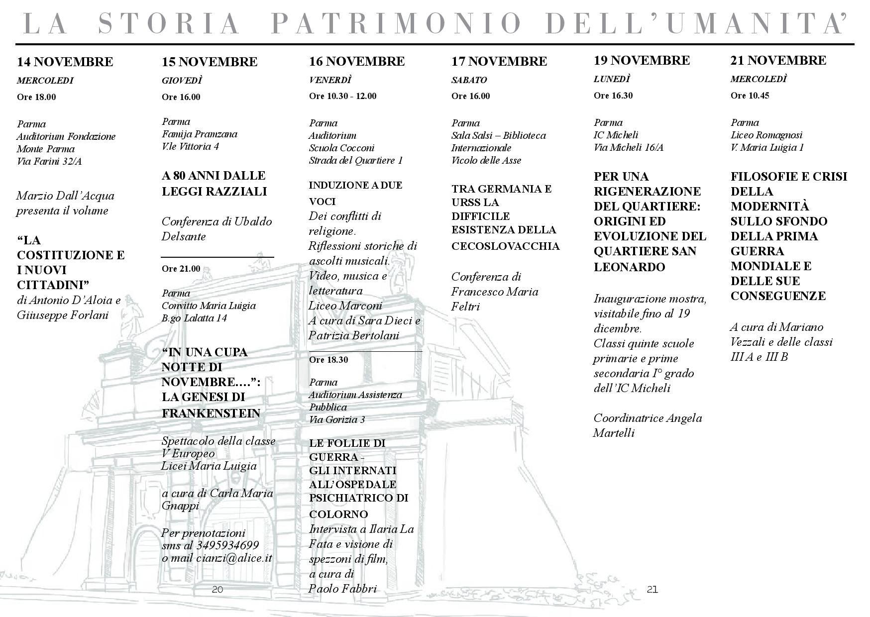 Festa Internazionale della Storia-Parma: programma dal 14 al 21 novembre