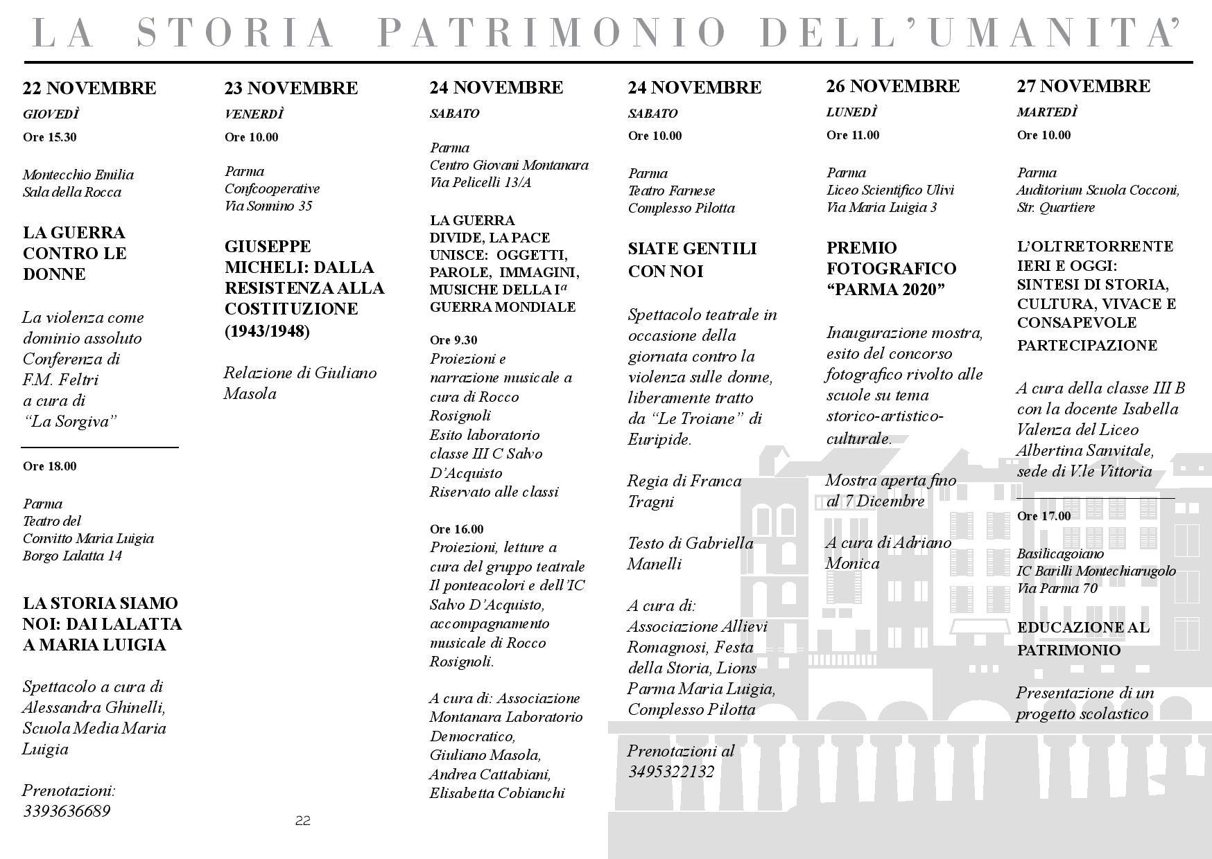 Festa Internazionale della Storia-Parma: programma dal 22 al 27 novembre