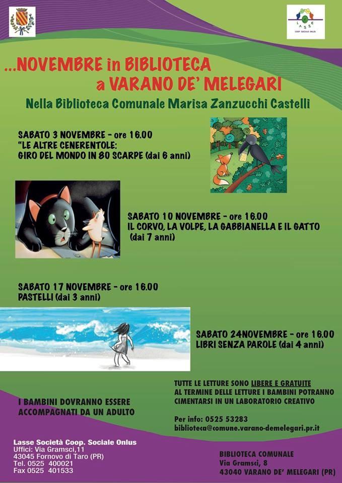 Appuntamenti di Novembre 2018 in biblioteca a Varano  de' Melegari