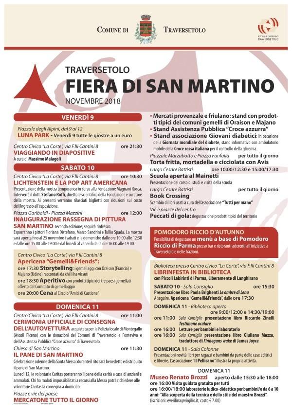 TRAVERSETOLO IN FESTA PER TRE GIORNI PER LA FIERA DI SAN MARTINO