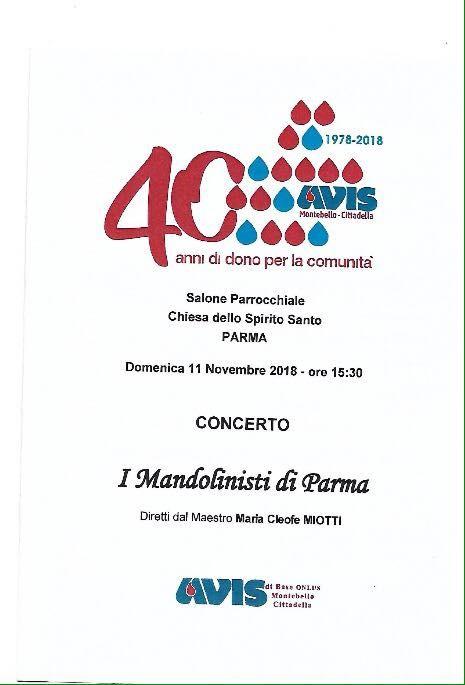 """40 anni di AVIS: concerto con """"I Mandolinisti di Parma"""""""