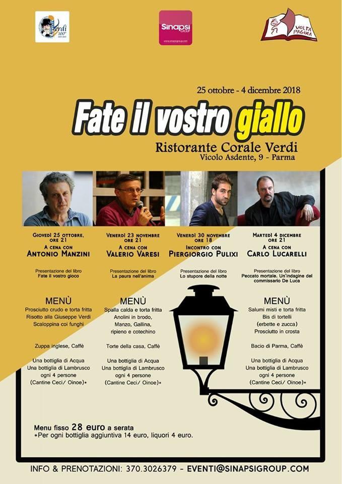"""""""Fate il vostro giallo"""", cena con l'autore al ristorante Corale Verdi"""