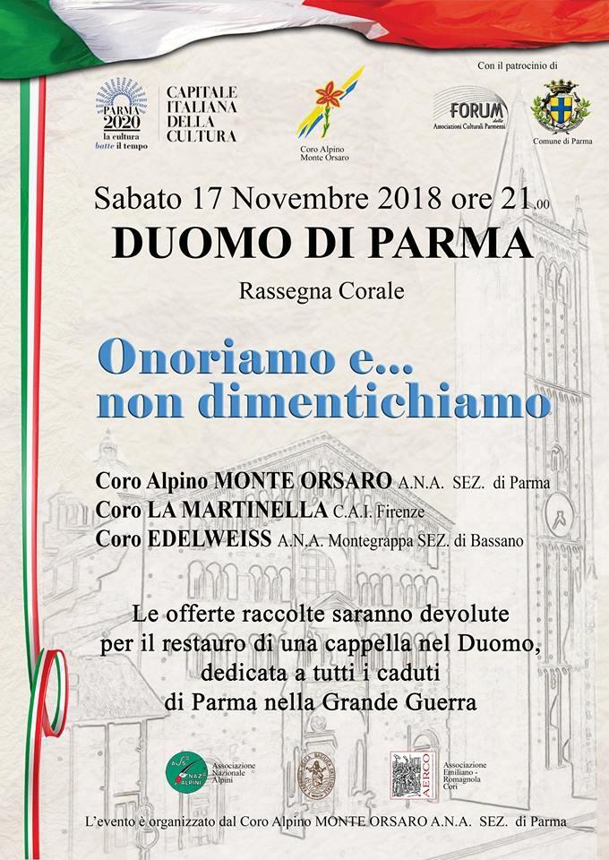 Rassegna corale nella Cattedrale di Parma: onoriamo e... non dimentichiamo