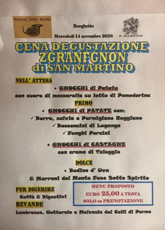 Cena  degustazione di  Z G R A N F G N O N  (Gnocchi di Patate) di SAN MARTINO  all' Osteria della Posta a Borghetto