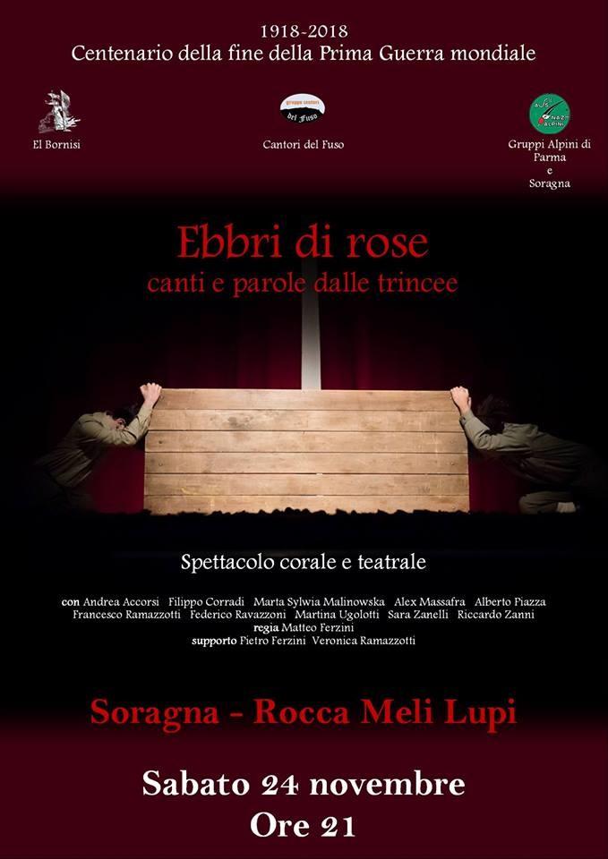 """""""Ebbri di rose"""", spettacolo corale e teatrale nella Rocca Meli Lupi di Soragna"""