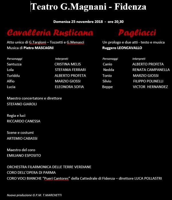"""La Stagione lirico-concertistica 2018/2019 del Magnani di Fidenza: """"Cavalleria rusticana"""" e Pagliacci"""
